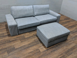 Grey Ikea Kivik full-size sofa and ottoman. FREE DELIVERY