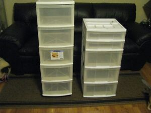 TWO PLASTIC TOTE BINS .. CRAFTS TOYS SEWING ETC