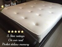 "⭐️⭐️⭐️⭐️⭐️ 5 STAR DELUXE POCKET HOTEL FEEL MATTRESSES - 11"" INCH DEEP POCKET MEMORY"