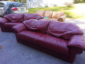 Burgundy Leather Couches