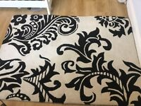 100% wool damask rug black and white
