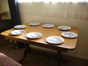 Dining Table - antique - rectangular wood with brass feet