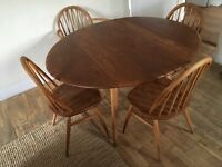 Ercol 1960s blue label drop leaf table and 4 chairs one carver