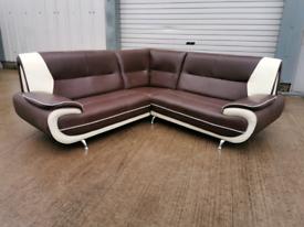 Brown & white corner sofa couch suite 🚚