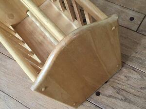 Maple magazine rack floor standing, solid wood
