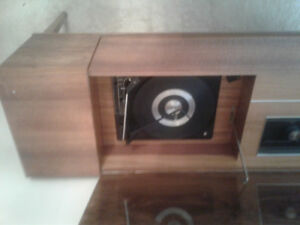 Vintage phonograph  with walnut polished wood cabinet