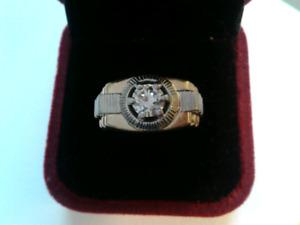 Bague or 14 carats et diamant 1,01 carat pour homme