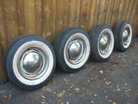 """15"""" Steel Rims Whitewals Hubcaps and Trim Rings Chevy 6 bolt GM"""