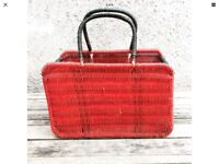 Vintage Red Wicker Woven Shopping Basket Mid Century French?