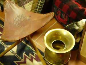 Brass Spatoon and Folding leather stool