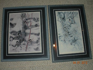 Set of 2  Chickadee 'Numbered' Pictures
