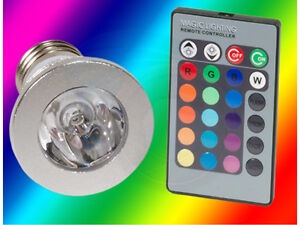 E27 3W RGB LED Light Bulb Magic Lighting Remote Control 16 Color