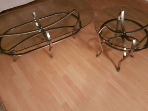 2 pieces- Glass Coffee Table and Circular Side Table