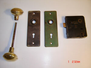 Antique Door Lock Set with Plates Solid Brass Handles Late 1800s