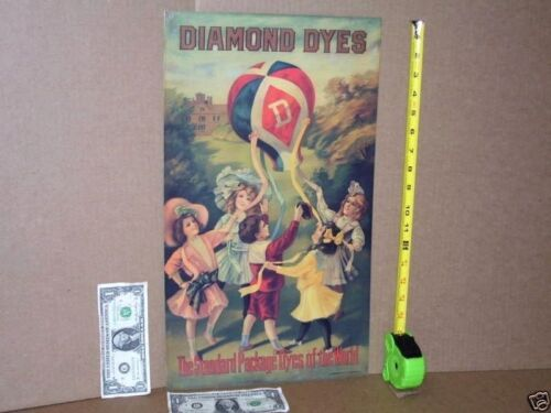 DIAMOND DYE CABINET -- Replacement TIN SIGN -- Shows Hot Air Balloon ----->NICE>