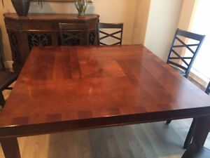 Gorgeous inlaid wood square dining room table