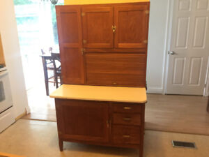 1920's Antique Oak Hoosier Kitchen Cabinet with Baking Counter