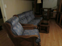 Solid oak couch, chair, tables and lamp