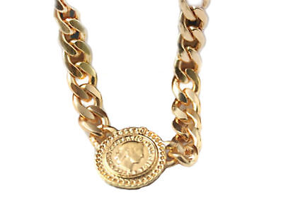 Chunky Profile Dollar Coin Bling Chain Link Urban Fashion Statement Necklace Clr