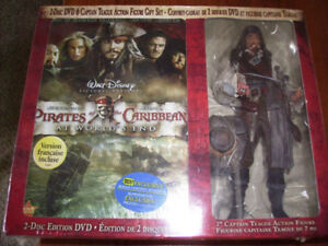 Pirates of the Caribbean 2 Disc DVD and Action Figure Set