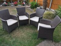 4 x Rattan Outdoor Garden Chairs and Cushions *As New Condition*