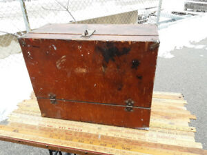 Antique Wooden Tool Storage box engineer's tool chest