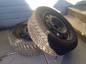 205 55 16 winter tires on steel rims, studded