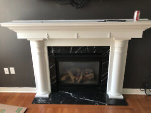 Natural gas fireplace insert with fan