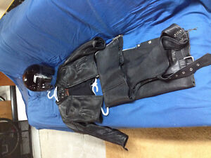 Ladies leather motorcycle jacket and chaps and helmet