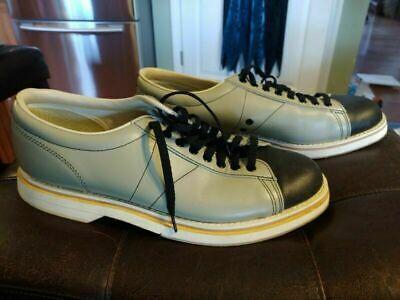 Vintage Mens Brunswick Bowling Shoes Size 10.5 Leather Upper Grey Black