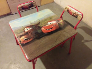 DISNEYS CARS TABLE AND CHAIRS FOR TODDLERS