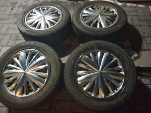 INFINITI NISSAN Steelies Set with GOOD WINTER TIRES ON THEM