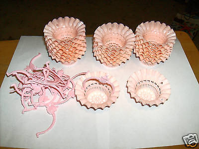 1950s Party Favors (LOT OF VINTAGE PARTY FAVORS BASKETS BRIGHT PINK 24 PCS 1950's)