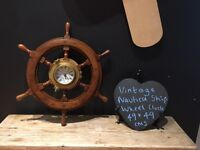 Vintage nautical brass port hole wooden ships wheel clock boating Christmas present prop cafe