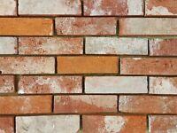 Reclaimed Handmade Thin Brick Slips | Tiles | Cladding | Clay | 1 Box - 32 Mixed