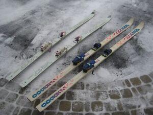 2 pair of skis, 1.95m and 2.1m  ski glass,  ski bag, 2.1m length