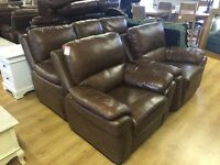 3+1+1 brown leather suite-one reclining chair---ONLY £360---CALL TODAY!!!