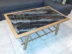 Hand Made Cherry Coffee Table With Custom Epoxy Table Top