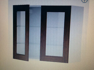 IKEA Expresso 2 Door Display Cabinet w/ Tempered Glass Shelves