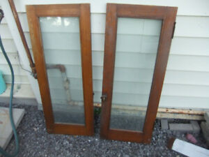 2-Oak Cabinet Doors with glass