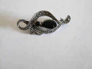 Sterling Silver Black Onyx and Marcasite Pin Brooch