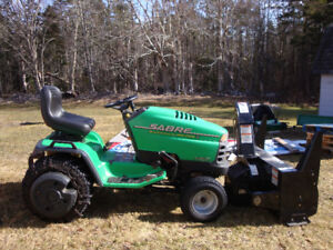 John Deere 2148 Sabre Tractor, Berco Snow Blower, and Mower Deck