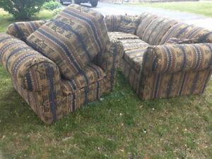 Couch, Chair, Ottoman, and matching throw pillows