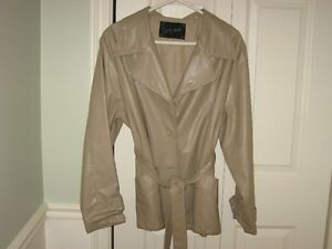 ladies pleather lined jacket with tie belt