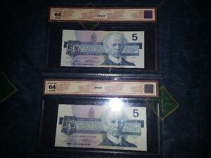 Two (2) 1986 Five Dollar Bills, Professionally graded as Choice