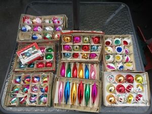 9 Boxes Vintage Glass Christmas Tree Ornaments 75.00 OBO
