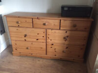 Large pine chest of drawers