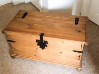 Vintage pine wax finish chest /trunk / toy box