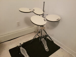 DW practice drum kit with double bass pedals