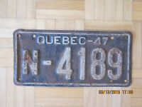 PLAQUE D'IMMATRICULATION 1947